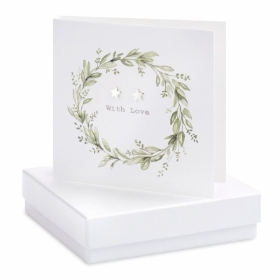 'With Love' Eucalyptus Boxed Earring Card